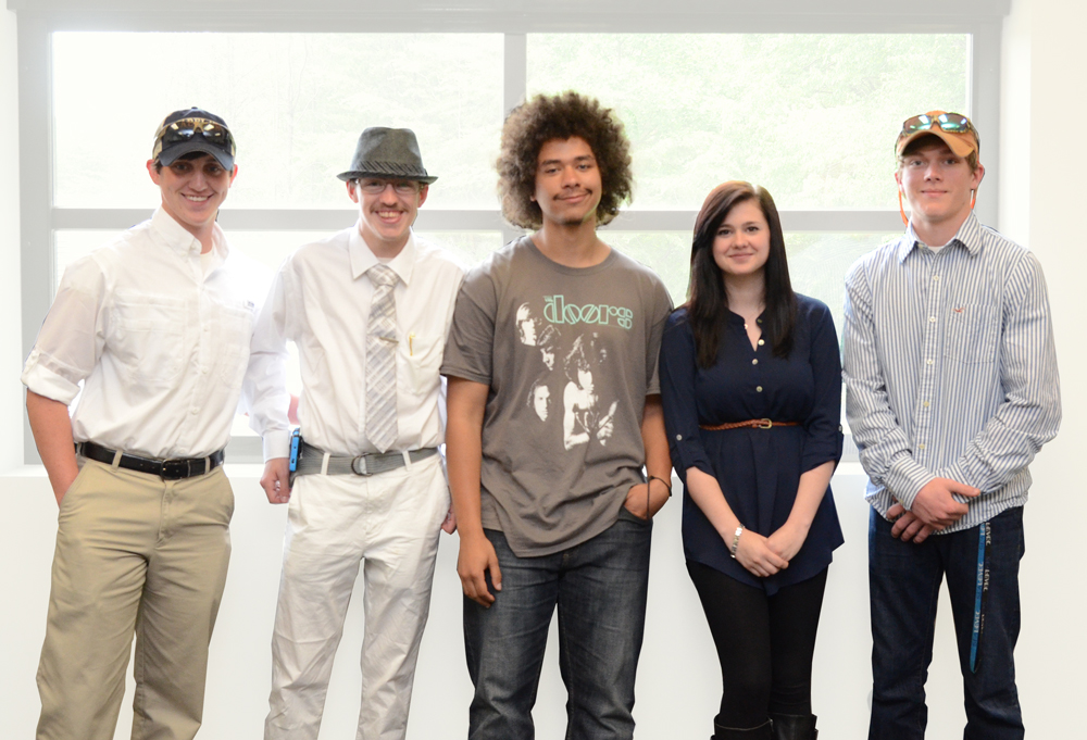 From left to right: Dakota Malsch, Caleb Howard, Anthony Collins, Rebecca Waldrep, Cole Johnson