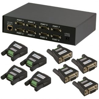 Ethernet to 8-Port RS-422, RS-485 Serial Server Kit
