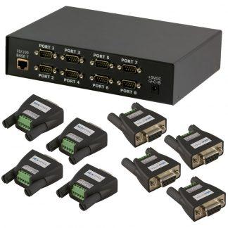 Ethernet to 8-Port RS-422, RS-485 Serial Server Kit