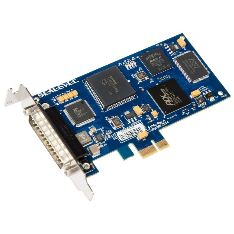 Low Profile PCI Express 1-Port RS-232, RS-422, RS-485, RS-530, RS-530A, V.35 Synchronous Serial Interface (uses Z16C32)