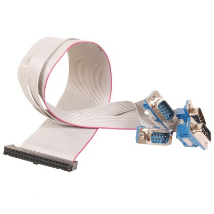 40-Pin IDC Ribbon Cable to (4) DB9 Male Connectors, 14 inch Length