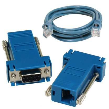 SeaI/O DB9 Female to RJ45 Adapter (RS-232 Pinout) and CAT5 7' Patch Cable (Blue)