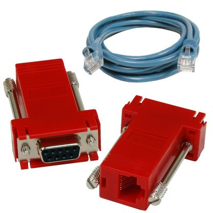 SeaI/O DB9 Female to RJ45 Adapter (RS-422 Pinout) and CAT5 7' Patch Cable (Blue)