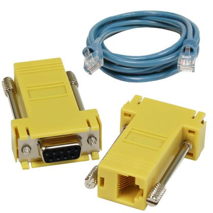 SeaI/O DB9 Female to RJ45 Adapter (RS-485 Pinout) and CAT5 7' Patch Cable (Blue)