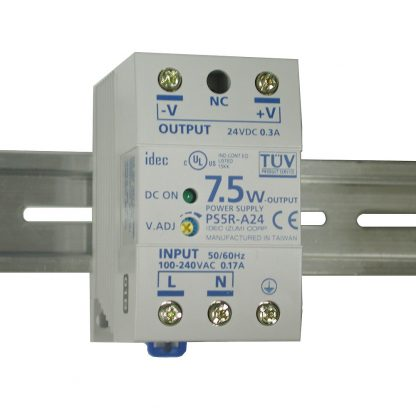 100-240VAC to 24VDC @ 300mA, DIN Rail Power Supply