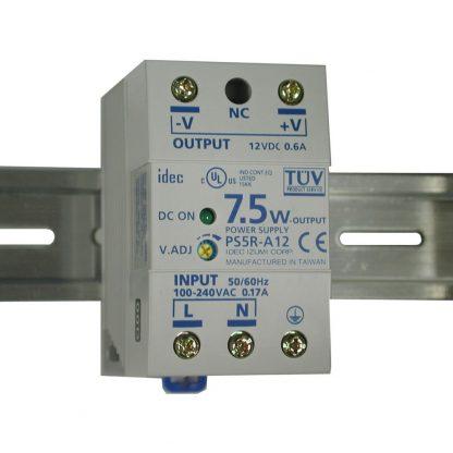 100-240VAC to 12VDC @ 600mA, DIN Rail Power Supply