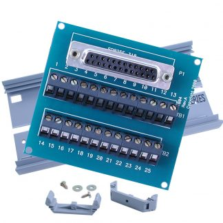 "Terminal Block Kit - DB25 Female to 25 Screw Terminals, 6"" Snap Track and DIN-Rail Mounting Clips"