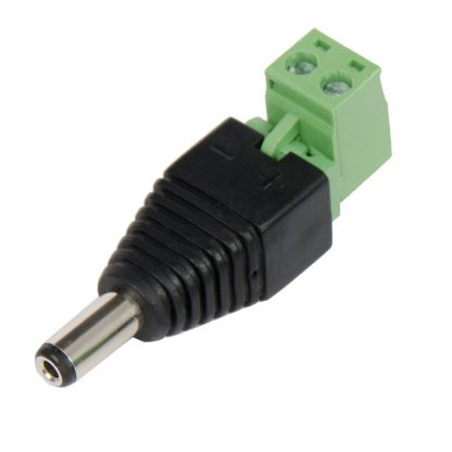 Terminal Block - 2.1 mm Male Barrel Connector to 2 Removable Screw Terminals