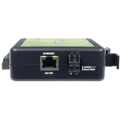 eI/O-110E Right View w/ Ethernet Port and DC Input via Tool-Free Removable Terminal Block