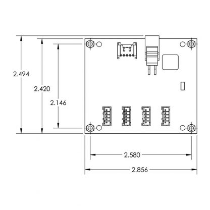HUB4PH-OEM Board and Mounting Hole Dimensions