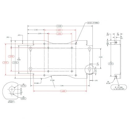 KT134 VESA Mounting Bracket Imperial Dimensions (Inches)
