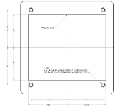 HUB4PH-KT CAD drawing detailing panel cut out required for installation