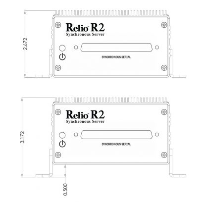 Relio R2 Sync Server Front View Dimensions