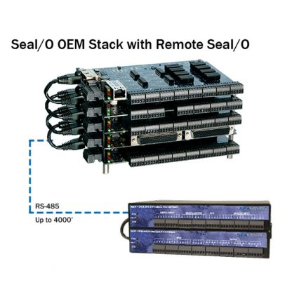 SeaI/O-410E-OEM N-Series Expansion Modules communicate over RS-485 and can be located up to 4,000 feet from the host module