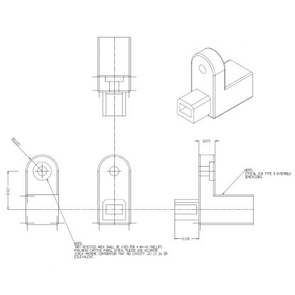 CA332-5M SeaLATCH Type B Connector Imperial Dimensions (Inches)